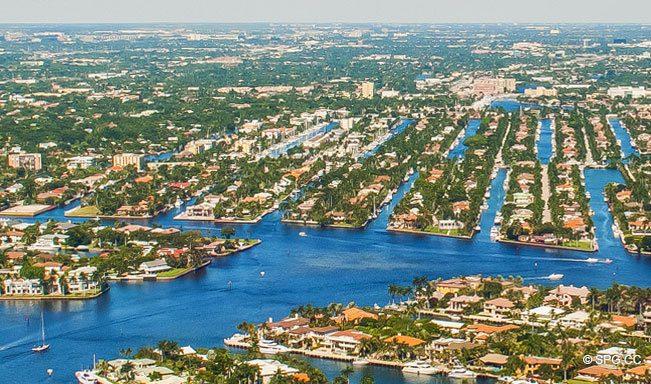 Aerial View of the Luxury Waterfront Homes on Las Olas Isles, Fort Lauderdale, Florida