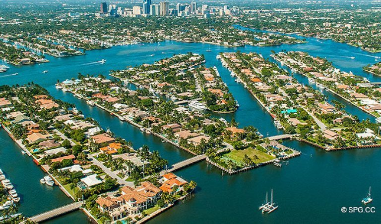 Western Aerial View of the Luxury Waterfront Homes in Harbor Beach, Fort Lauderdale, Florida 33316