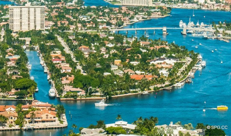 Aerial View of the Luxury Waterfront Homes on Idlewyld, Fort Lauderdale, Florida 33301