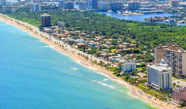 Aerial View of the Luxury Waterfront Homes on Las Olas By the Sea, Fort Lauderdale, Florida 33305
