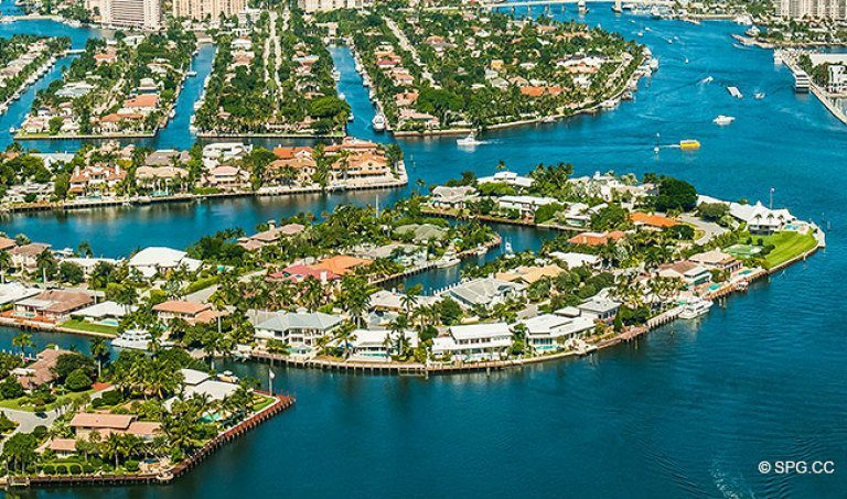 Northern Aerial View of the Luxury Waterfront Homes in Harbor Beach, Fort Lauderdale, Florida 33316