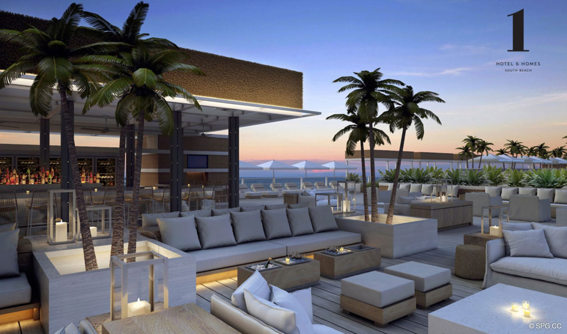 Beachfront Lounge at 1 Hotel & Homes South Beach, Luxury Oceanfront Condominiums Located at 2399 Collins Ave, Miami Beach, FL 33139