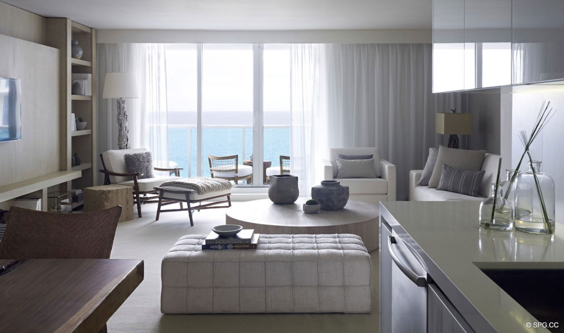 Living Room Design 2 at 1 Hotel & Homes South Beach, Luxury Oceanfront Condominiums Located at 2399 Collins Ave, Miami Beach, FL 33139