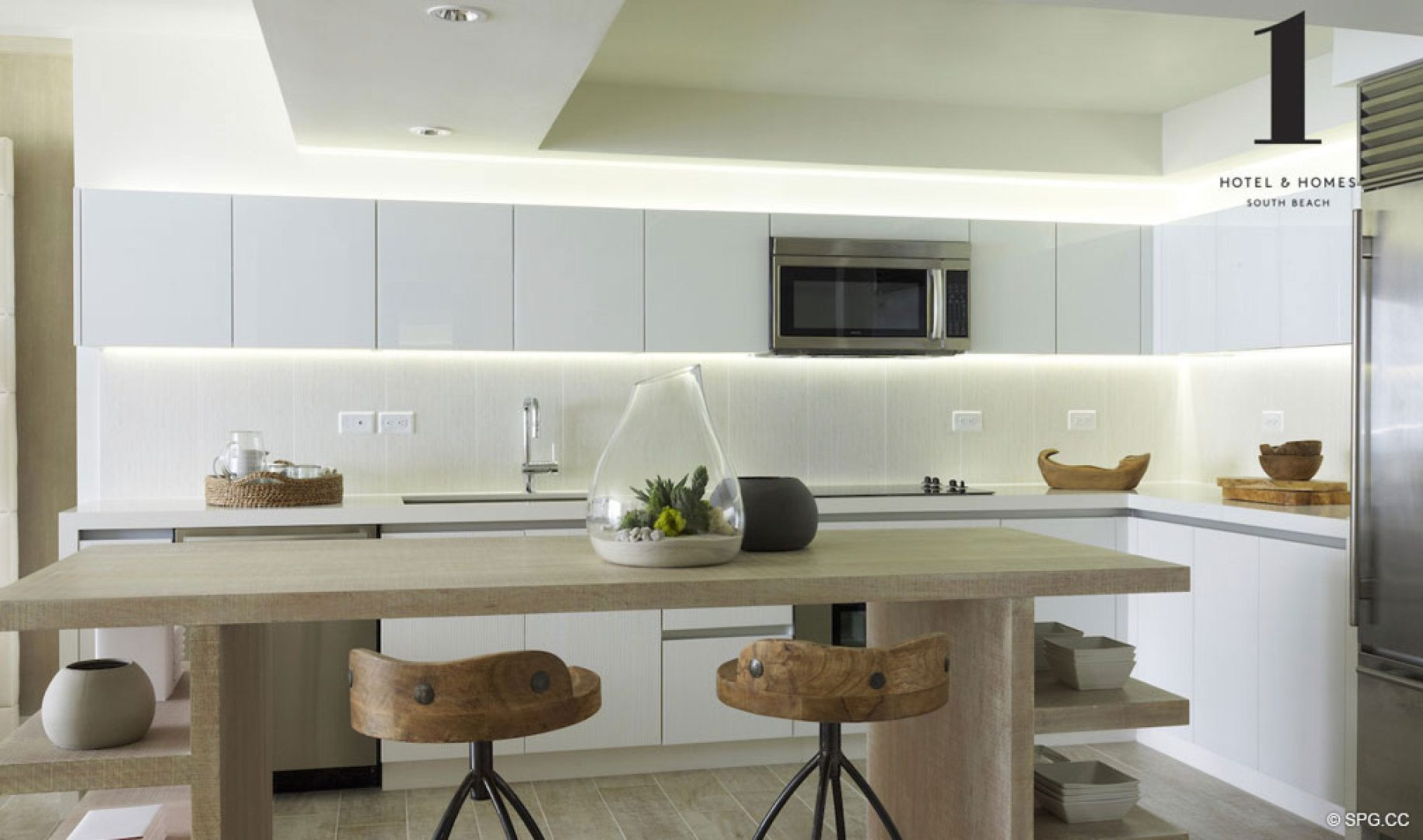 Kitchen at 1 Hotel & Homes South Beach, Luxury Oceanfront Condominiums Located at 2399 Collins Ave, Miami Beach, FL 33139