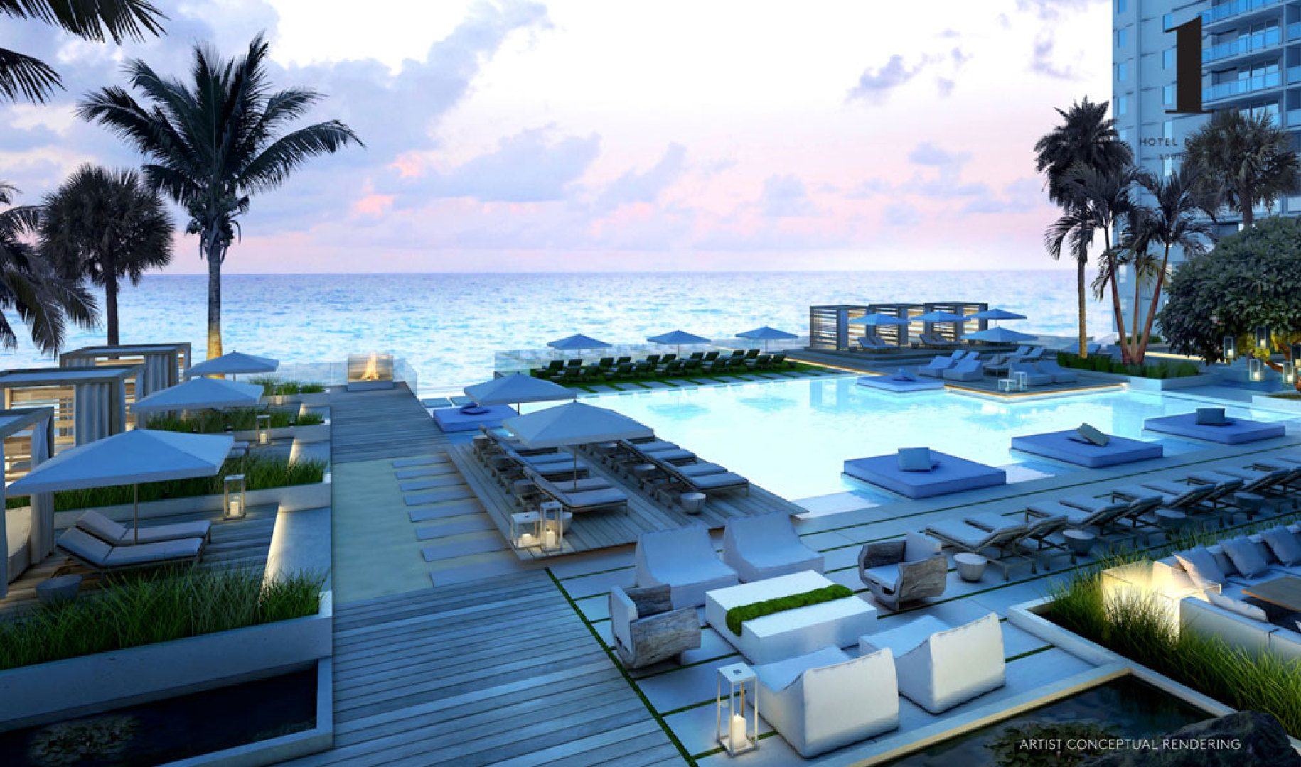 Oceanfront Pool Deck at 1 Hotel & Homes South Beach, Luxury Oceanfront Condominiums Located at 2399 Collins Ave, Miami Beach, FL 33139