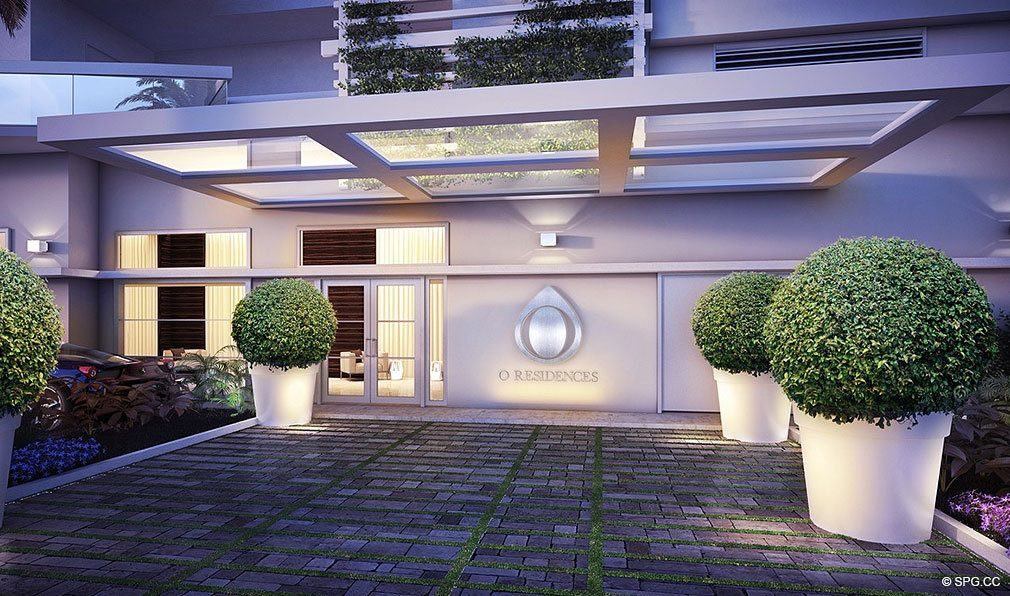 O Residences Entrance, Luxury Waterfront Condominiums Located at 9821 E Bay Harbor Dr, Miami Beach, FL 33154