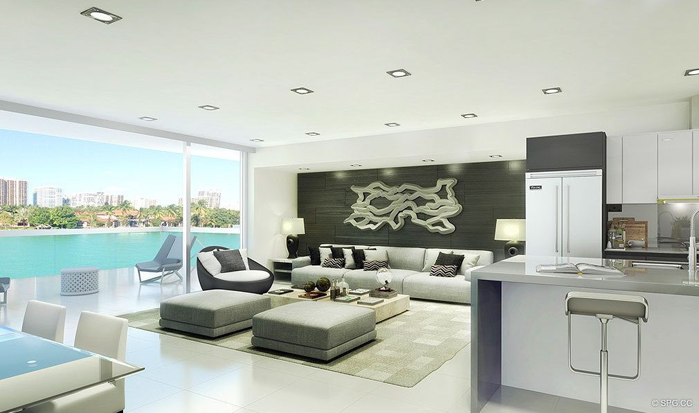 O Residences Living Room, Luxury Waterfront Condominiums Located at 9821 E Bay Harbor Dr, Miami Beach, FL 33154