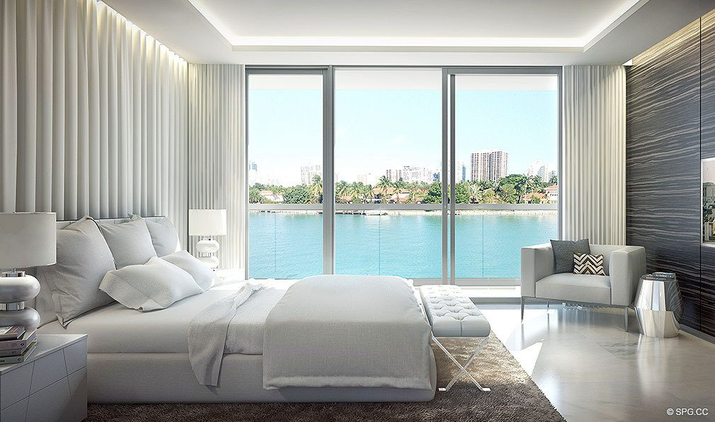 O Residences Bedroom, Luxury Waterfront Condominiums Located at 9821 E Bay Harbor Dr, Miami Beach, FL 33154