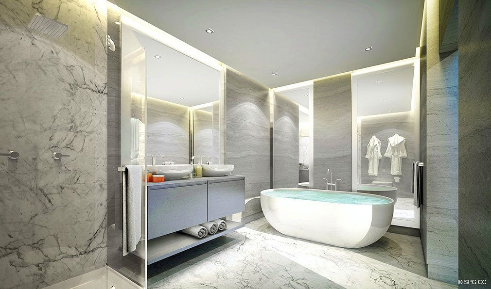 O Residences Master Bath, Luxury Waterfront Condominiums Located at 9821 E Bay Harbor Dr, Miami Beach, FL 33154