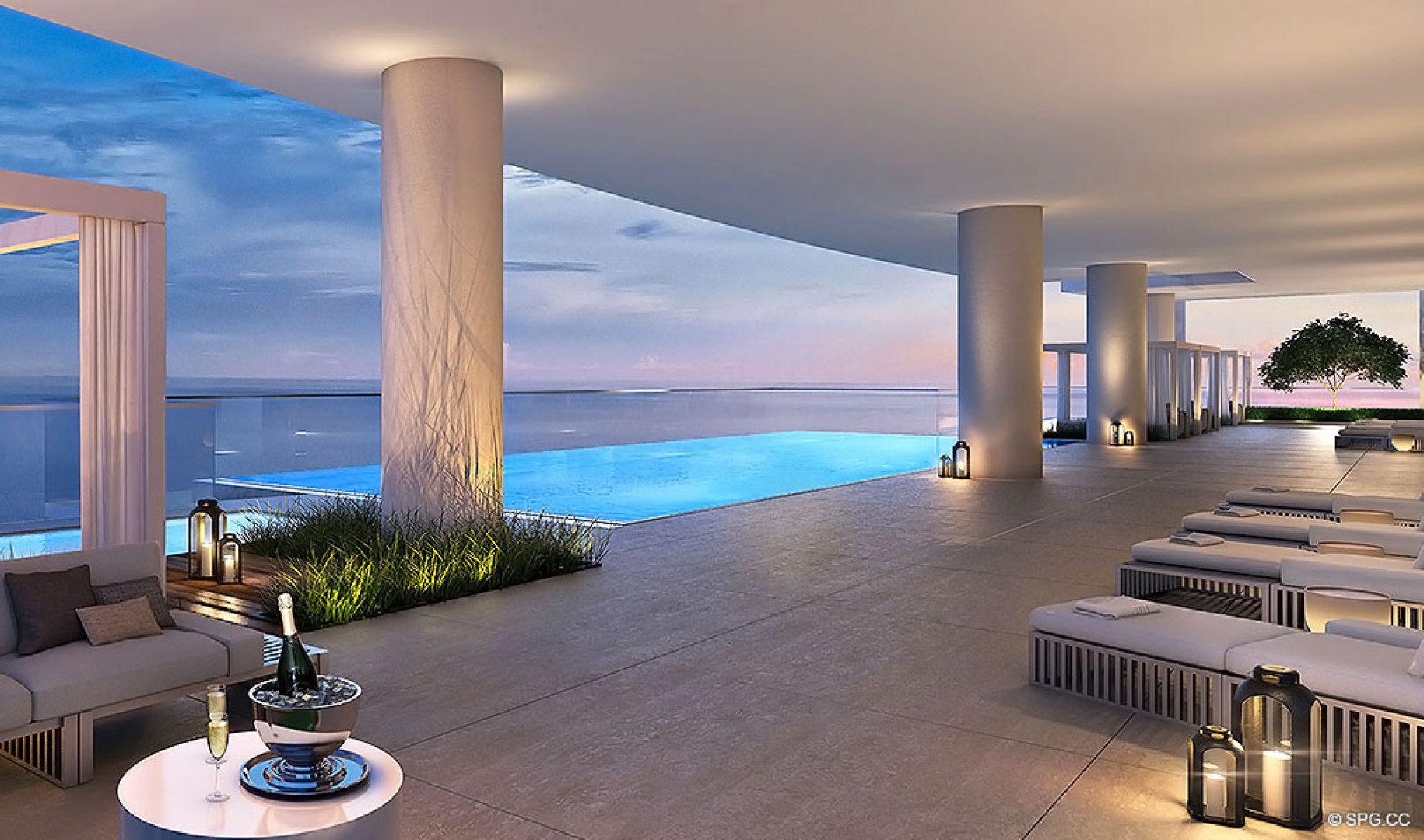 Sky Terrace and Pools at Turnberry Ocean Club, Luxury Oceanfront Condos Located at 18501 Collins Avenue, Sunny Isles Beach, Miami 33160