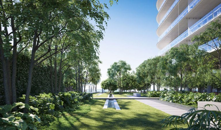 Grounds Rendering at Eighty Seven Park, Luxury Oceanfront Condos in Miami Beach, Florida 33154