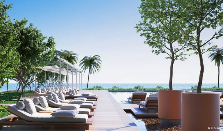 Oceanside Pool Area at Eighty Seven Park, Luxury Oceanfront Condos in Miami Beach, Florida 33154
