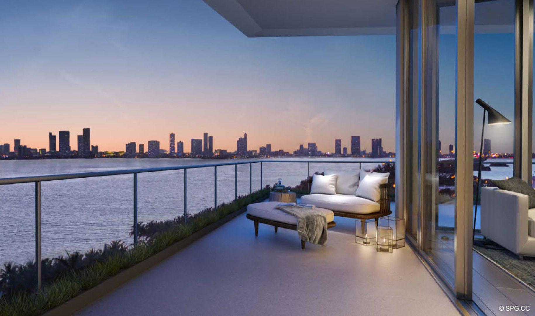 Spectacular Terrace Views from 3900 Alton, Luxury Waterfront Condos in Miami Beach, Florida 33140