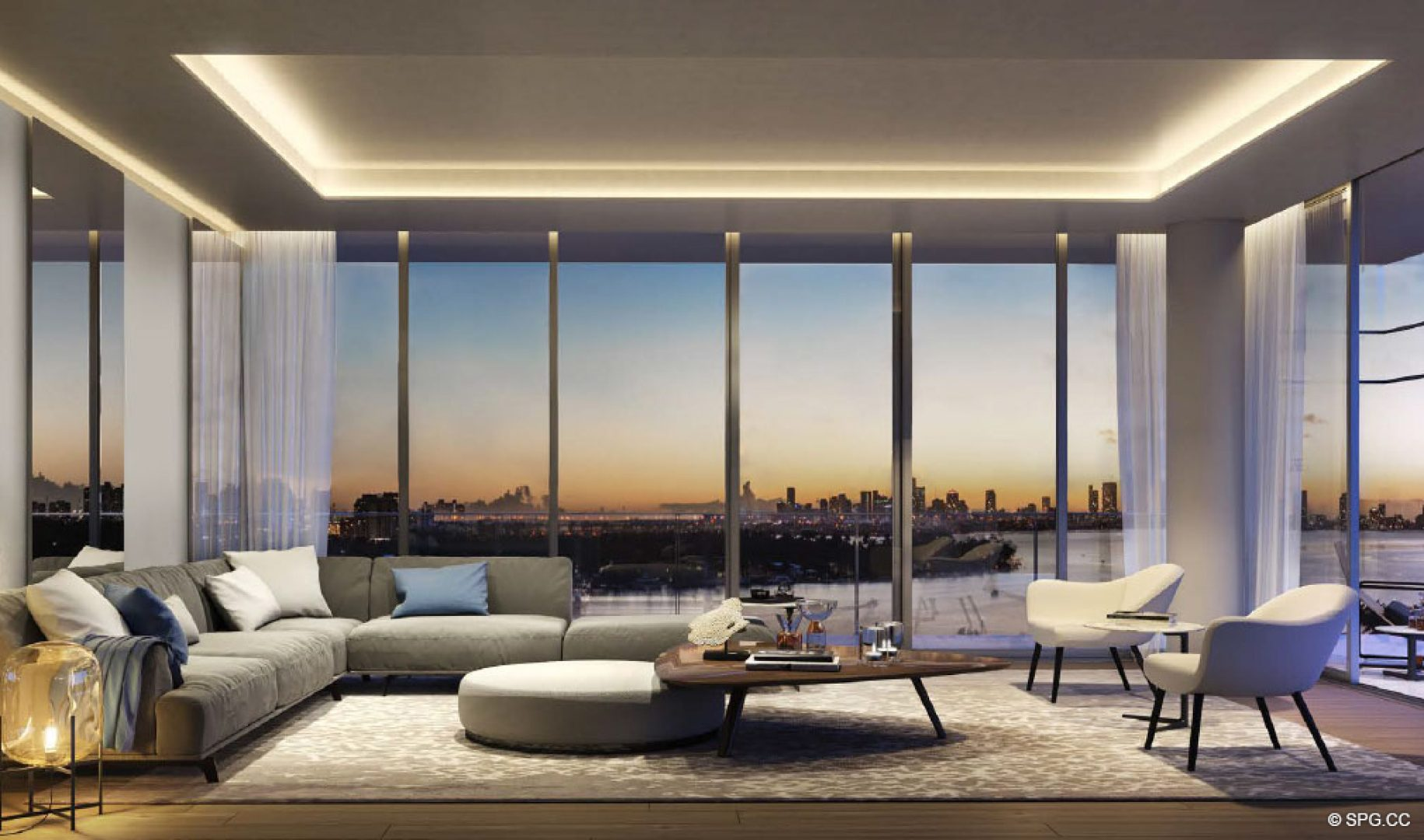 Expansive Living Room in 3900 Alton, Luxury Waterfront Condos in Miami Beach, Florida 33140
