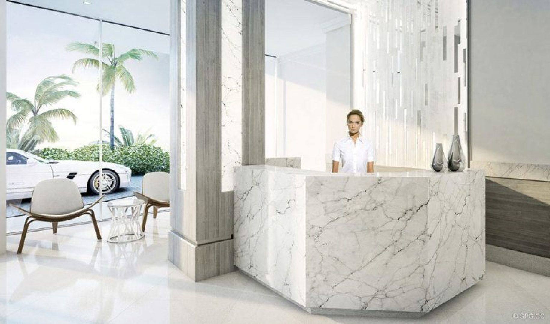 Reception Area in 321 at Water's Edge, Luxury Waterfront Condos in Fort Lauderdale, Florida 33304