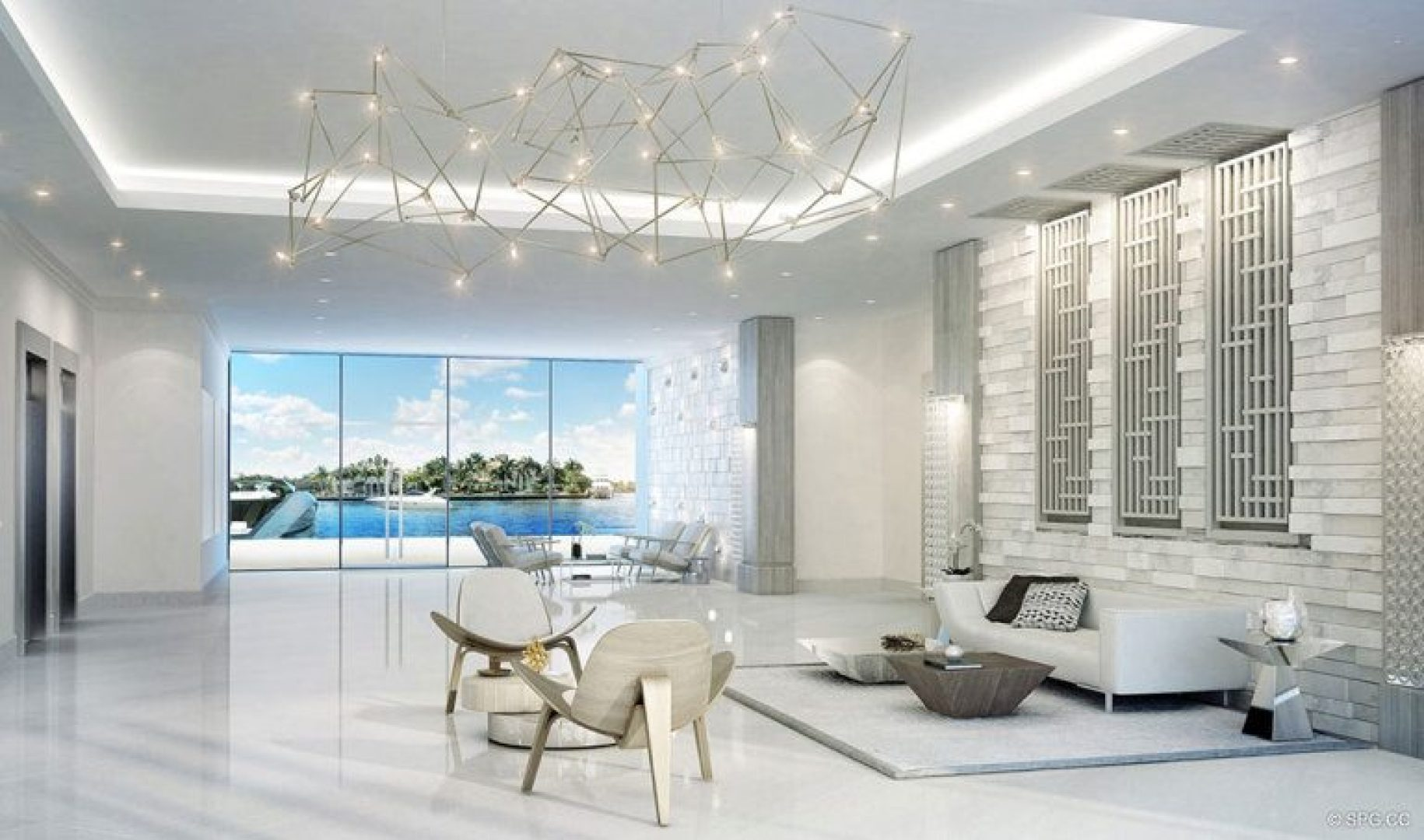 Main Lobby inside 321 at Water's Edge, Luxury Waterfront Condos in Fort Lauderdale, Florida 33304