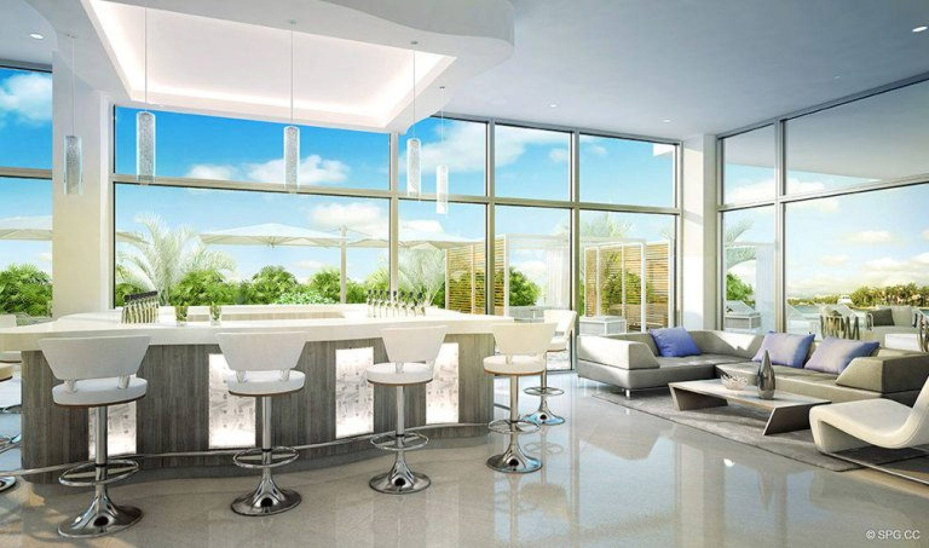 The Bar and Lounge Room in 321 at Water's Edge, Luxury Waterfront Condos in Fort Lauderdale, Florida 33304