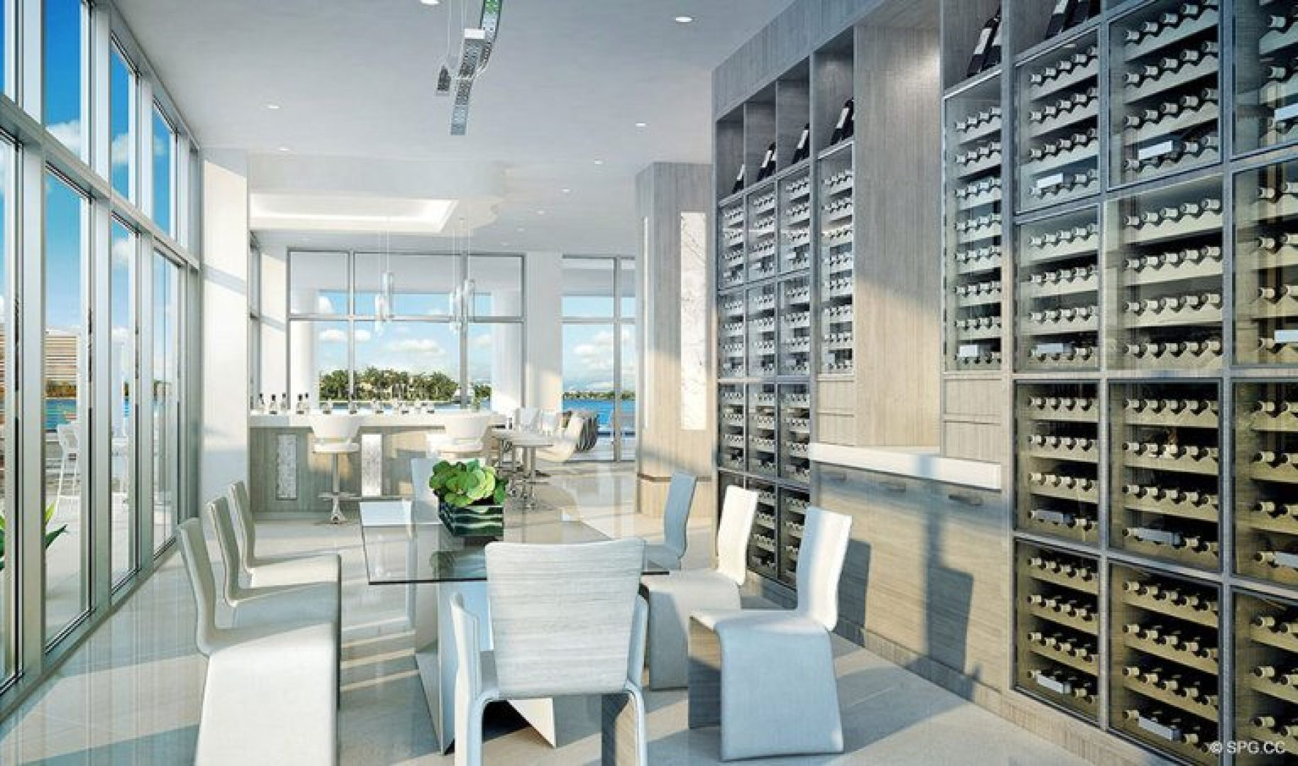 The Wine Tasting Area inside 321 at Water's Edge, Luxury Waterfront Condos in Fort Lauderdale, Florida 33304