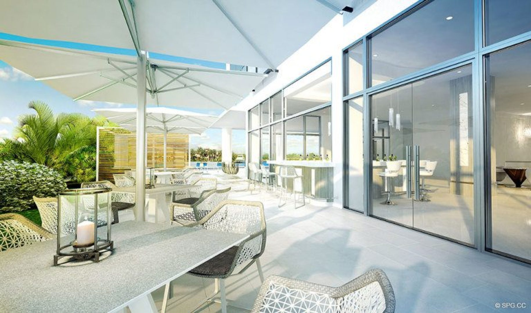 The Outdoor Lounge at 321 at Water's Edge, Luxury Waterfront Condos in Fort Lauderdale, Florida 33304