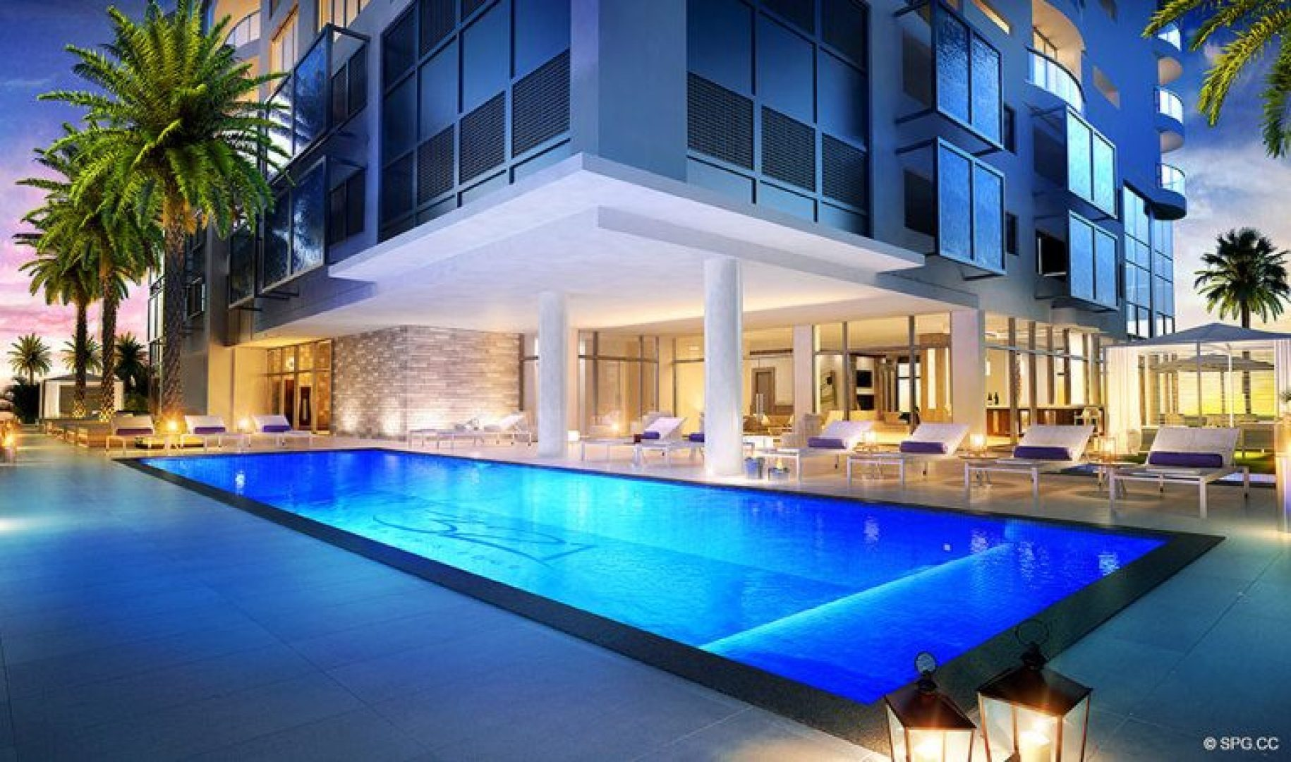 Poolside Evenings at 321 at Water's Edge, Luxury Waterfront Condos in Fort Lauderdale, Florida 33304