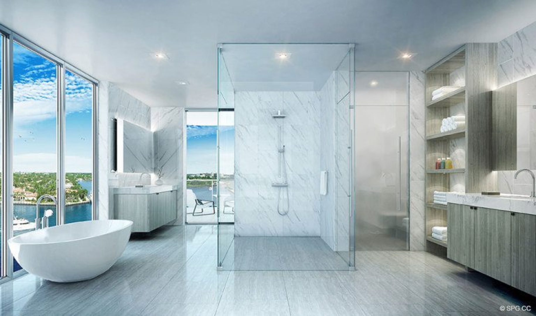 Master Bathroom inside 321 at Water's Edge, Luxury Waterfront Condos in Fort Lauderdale, Florida 33304