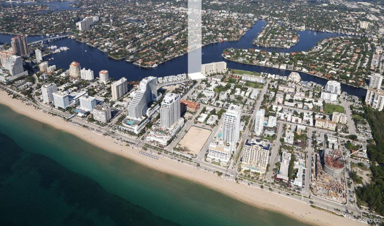 East West Location View of Adagio Fort Lauderdale Beach, Luxury Waterfront Condos in Fort Lauderdale, Florida 33304