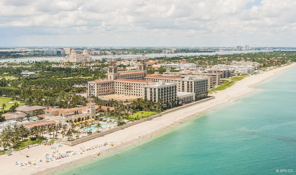Aerial Coastline View of Breakers Row, Luxury Oceanfront Condos in Palm Beach, 33480