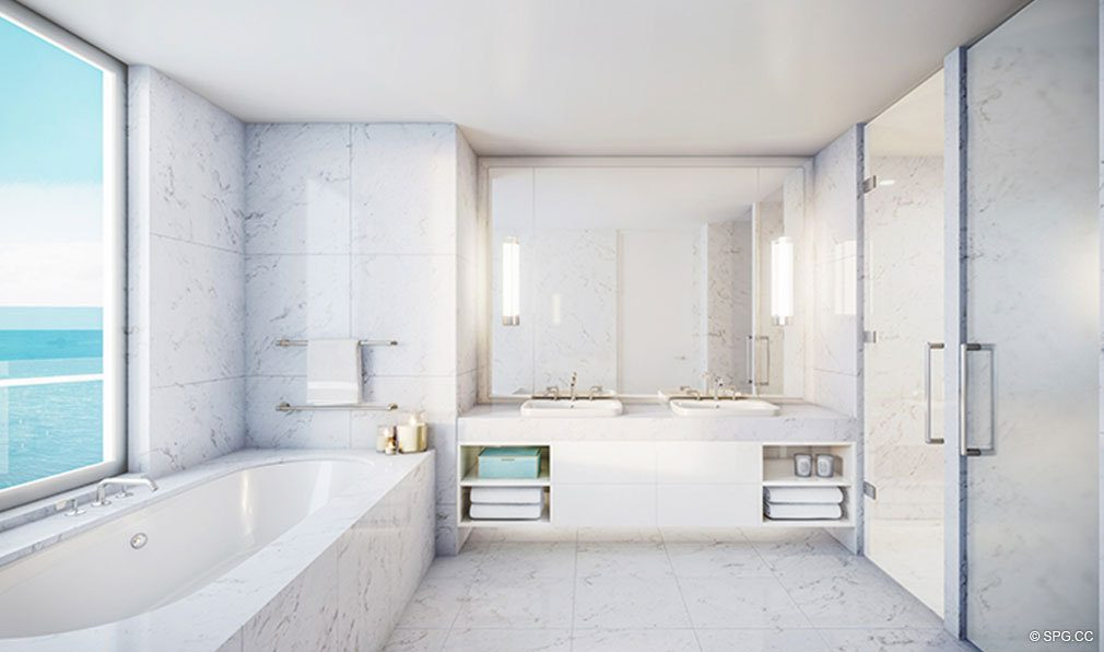Master Bath Design at The Four Seasons Private Residences Fort Lauderdale, Luxury Oceanfront Condos in Fort Lauderdale, Florida 33304.