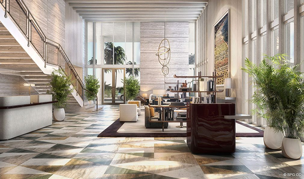Main Lobby at The Four Seasons Private Residences Fort Lauderdale, Luxury Oceanfront Condos in Fort Lauderdale, Florida 33304.