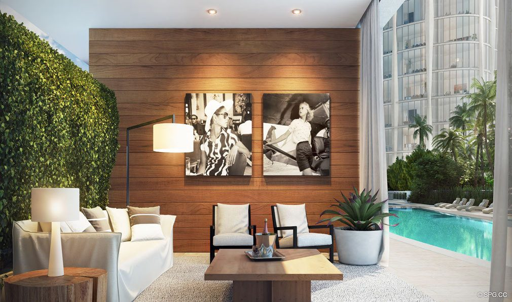 Private Poolside Cabanas at Park Grove, Luxury Waterfront Condos in Miami, Florida 33133