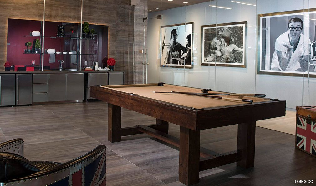 Billiard Room in Bond on Brickell, Luxury Seaside Condos in Miami, Florida 33131