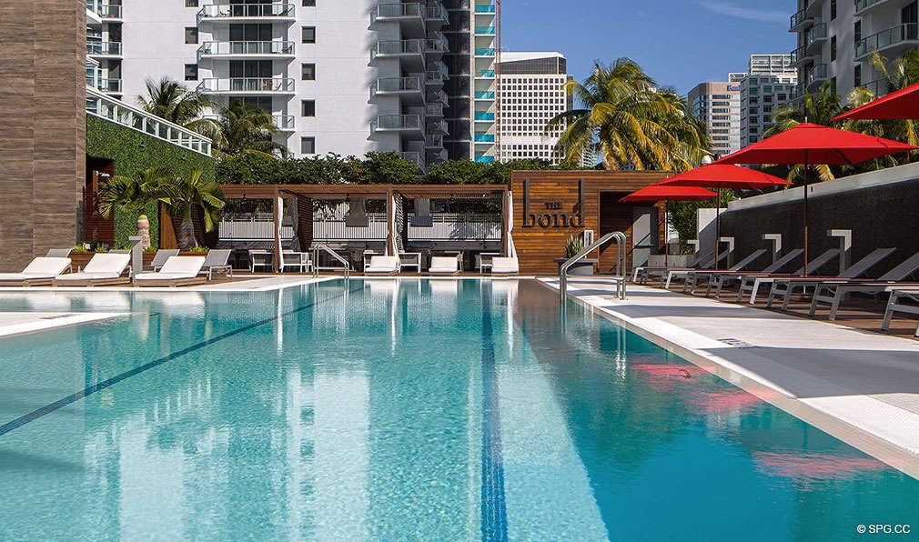 Spectacular Pool at Bond on Brickell, Luxury Seaside Condos in Miami, Florida 33131