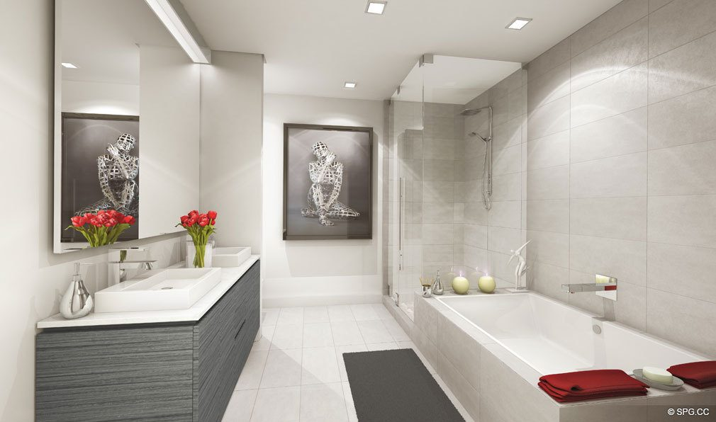 Relaxing Master Bath in Bond on Brickell, Luxury Seaside Condos in Miami, Florida 33131