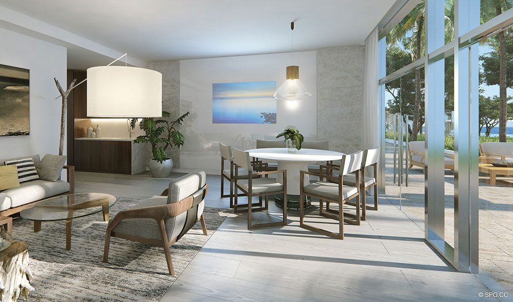 Private Lounge Area at Auberge Beach Residences, Luxury Oceanfront Condos in Ft Lauderdale