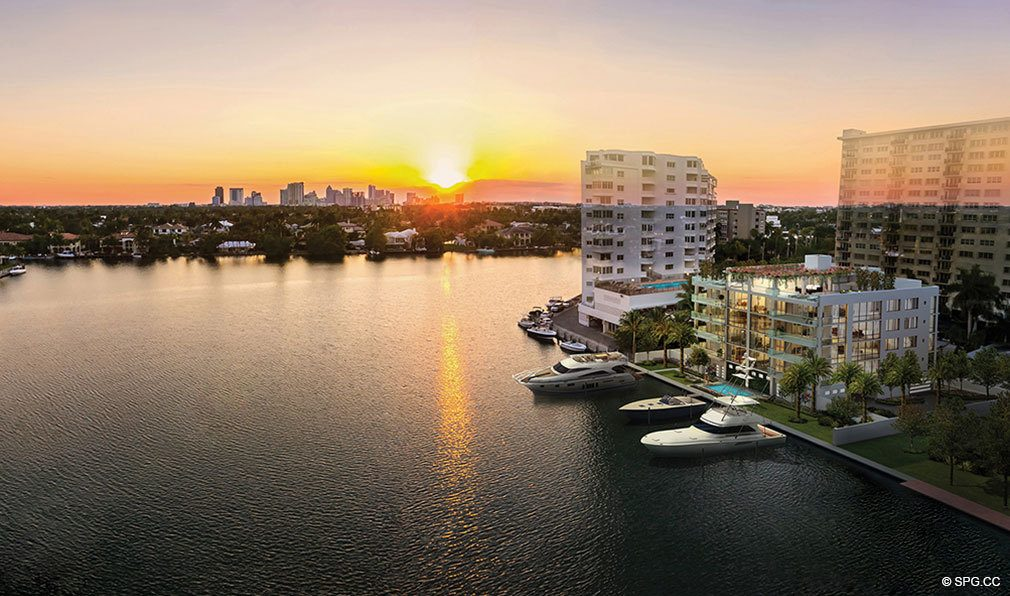 Sunset Aerial View of 353 Sunset, Luxury Waterfront Condos in Fort Lauderdale, Florida 33301
