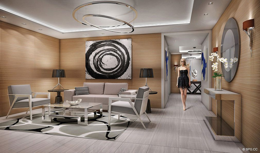 Main Lobby inside 353 Sunset, Luxury Waterfront Condos in Fort Lauderdale, Florida 33301