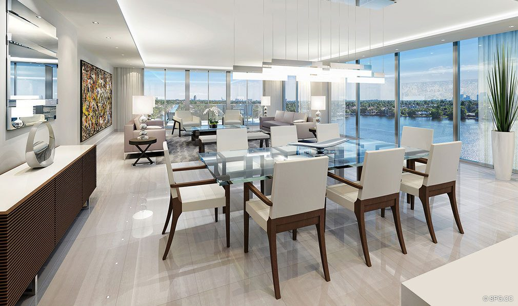 Great Room Design inside 353 Sunset, Luxury Waterfront Condos in Fort Lauderdale, Florida 33301