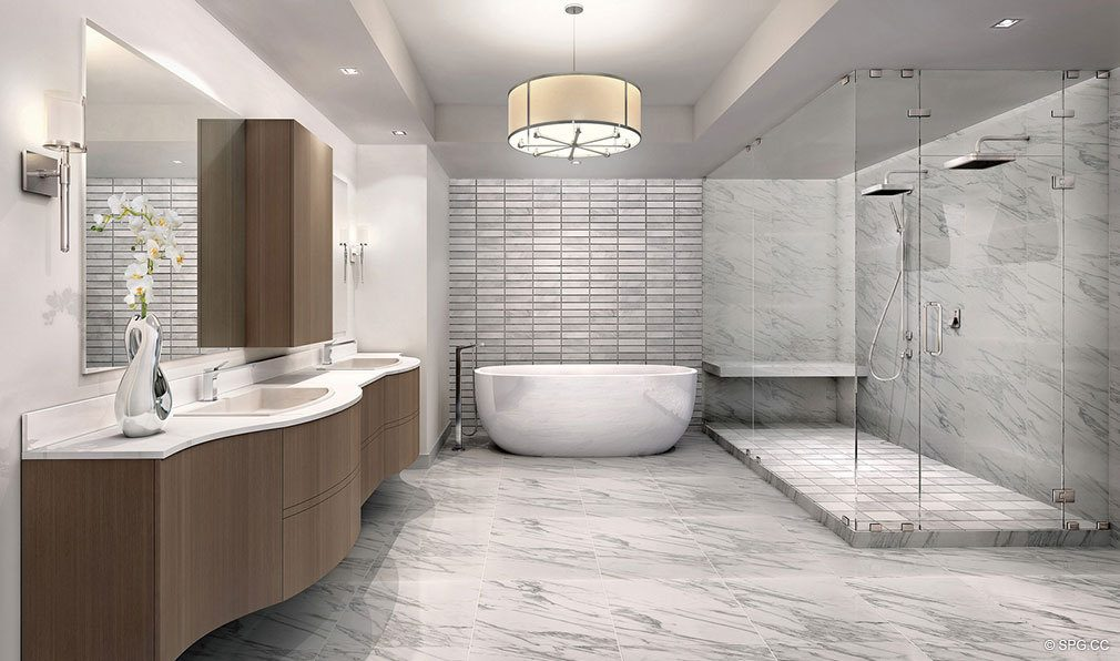 Master Bathrooms at 353 Sunset, Luxury Waterfront Condos in Fort Lauderdale, Florida 33301