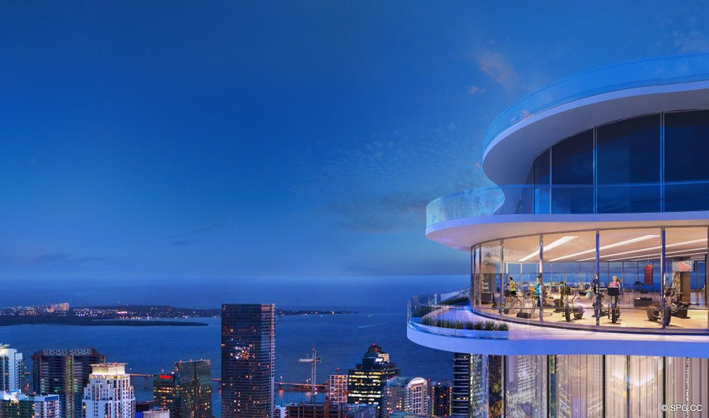 Sky Gym Overlooking the City at Brickell Flatiron, Luxury Condos in Miami, Florida 33130