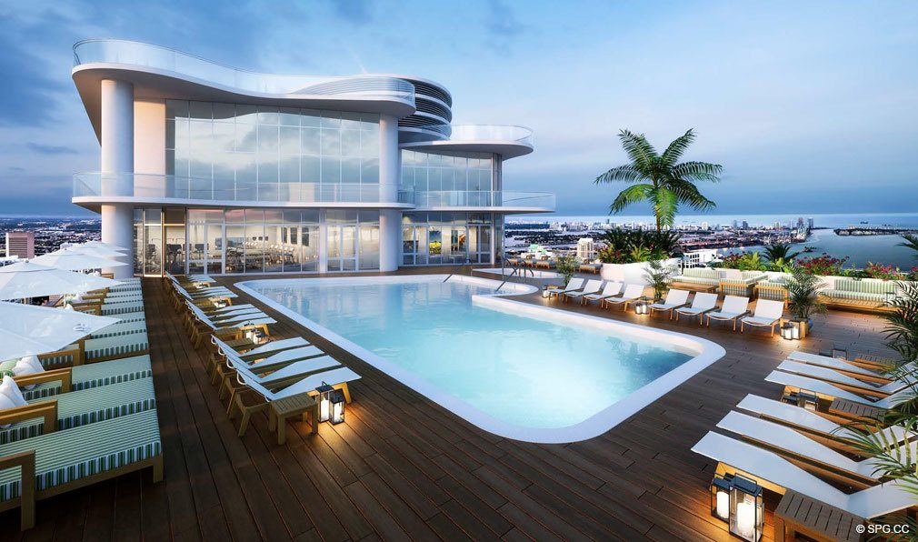 Rooftop Pool at Brickell Flatiron, Luxury Condos in Miami, Florida 33130