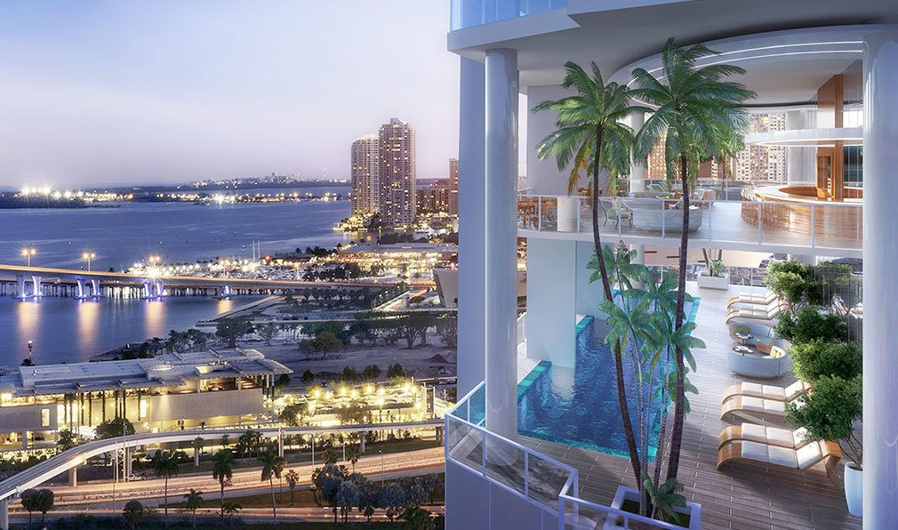 Elevated Pool Deck at Okan Tower, Luxury Condos in Miami, Florida 33136