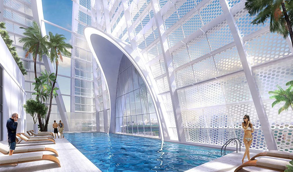 Rooftop Pool Deck at Okan Tower, Luxury Condos in Miami, Florida 33136