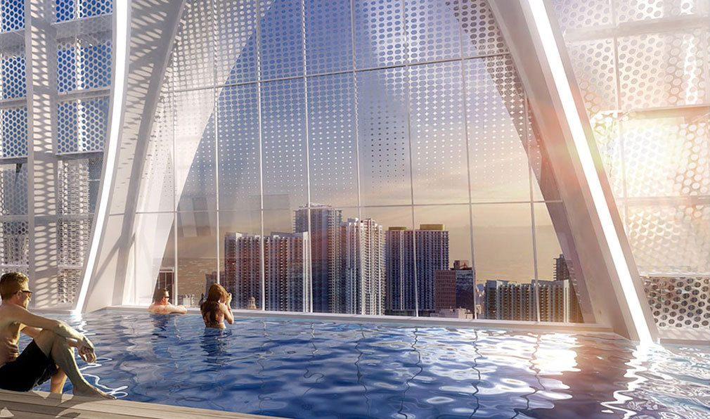Rooftop Pool Views from Okan Tower, Luxury Condos in Miami, Florida 33136