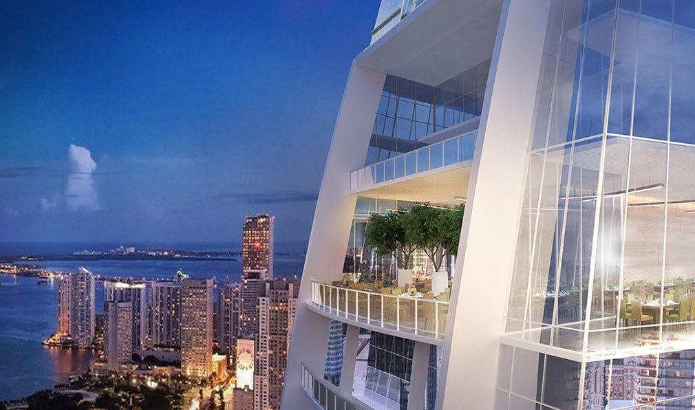 Spectacular Terrace Views from Okan Tower, Luxury Condos in Miami, Florida 33136