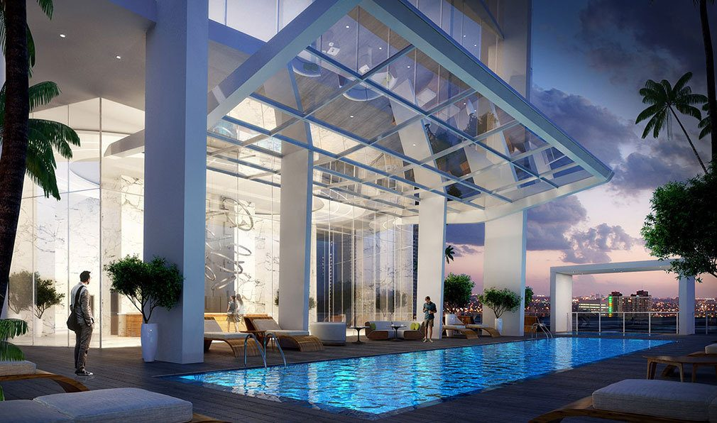 Evenings poolside at Okan Tower, Luxury Condos in Miami, Florida 33136
