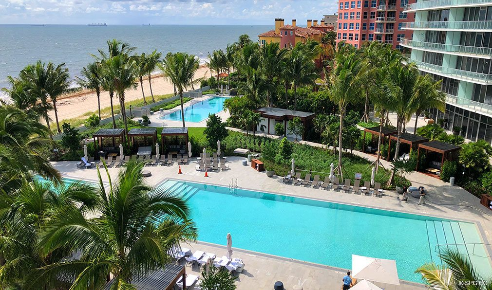 View of Pool Deck from Auberge Beach Residences, Luxury Oceanfront Condos in Ft Lauderdale
