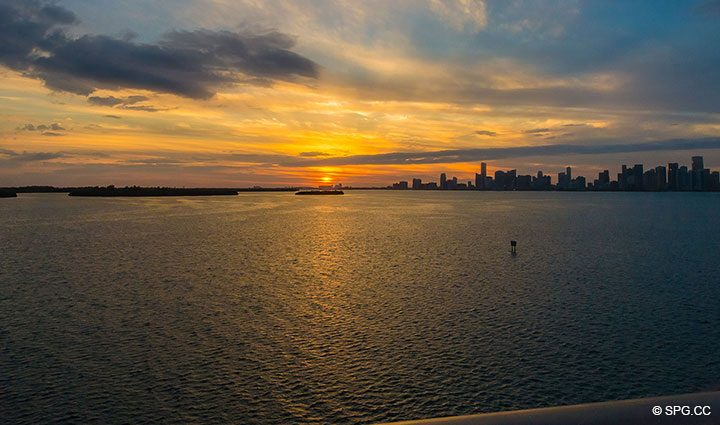Spectacular Sunset View of the Bay and Downtown Miami from Luxury Residence 5152 Fisher Island Drive, Miami Beach, FL 33109