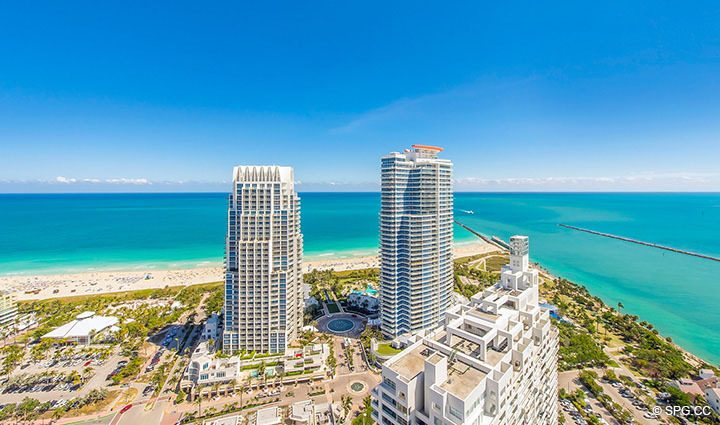 Southeast View from Residence 3806 at Portofino Tower, Luxury Waterfront Condominiums in Miami Beach, Florida 33139