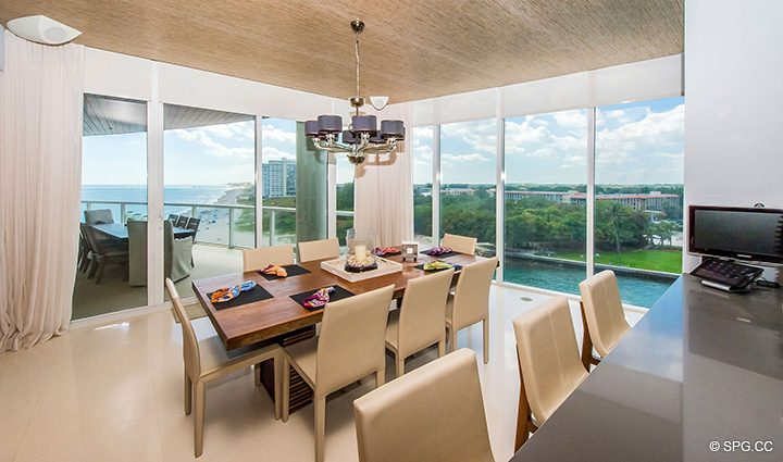 Dining Area Ocean Views from Residence 501 For Sale at 1000 Ocean, Luxury Oceanfront Condos in Boca Raton, Florida 33432.