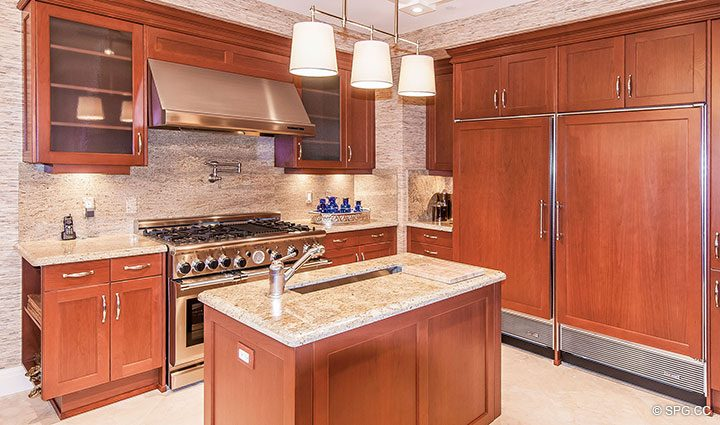 Gourmet Kitchen inside Residence 406 at Bellaria, Luxury Oceanfront Condominiums in Palm Beach, Florida 33480.